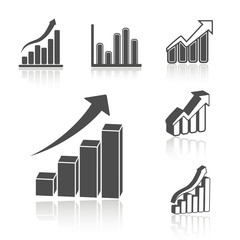 Vector set of business statistic graph - infographic icons