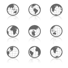 Vector globe symbols with shadow - icons of world