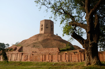 Chaukhandi Stupa in Sarnath with octagonal tower,India