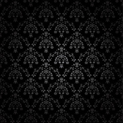 Vector black seamless ornament background-wallpaper with flower