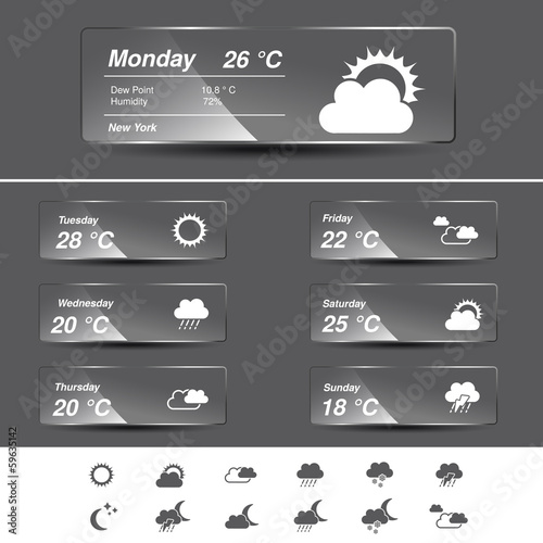 Vector weather forecast, widget, glass banners and symbols