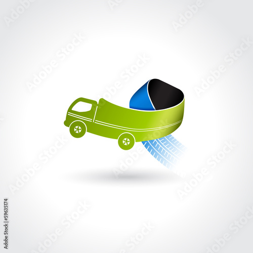 Vector business delivery symbol, transport icon, truck