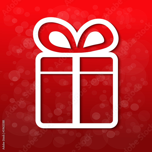 Vector paper white Christmas gift, red background