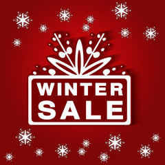 Vector paper label - winter sale, red Christmas offer