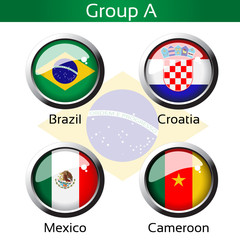 Vector flags, group A - Brazil, Croatia, Mexico, Cameroon