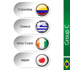 Vector flags, group C - Colombia, Greece, Ivory Coast, Japan