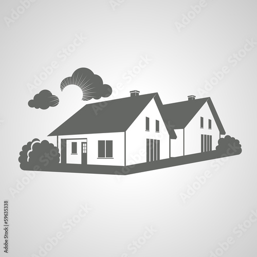 Vector home, group of houses icon, silhouette, real estate