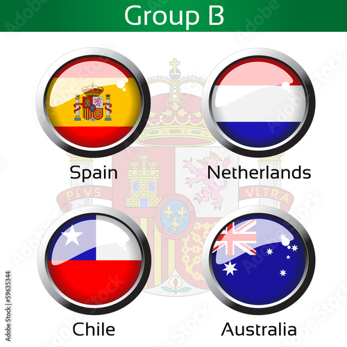 Vector flags, group B - Spain, Netherlands, Chile, Australia