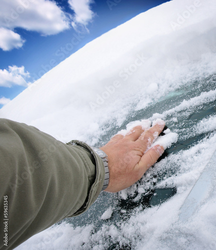 Removing Ice and Snow from the Car windshield