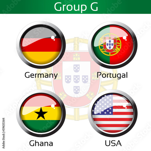 Vector flags, group G - Germany, Portugal, Ghana, USA