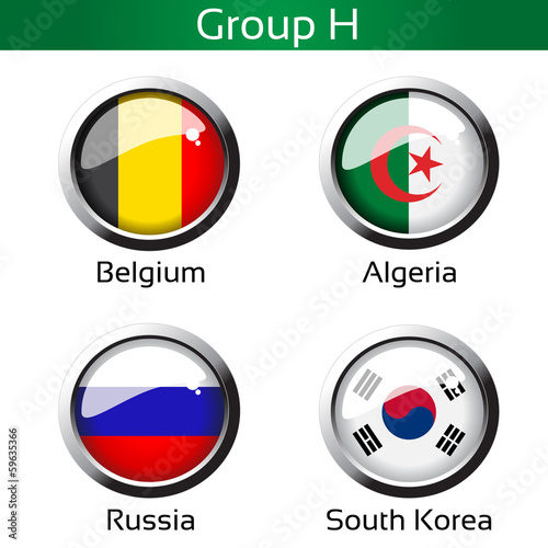 Vector flags,group H - Belgium, Algeria, Russia, South Korea