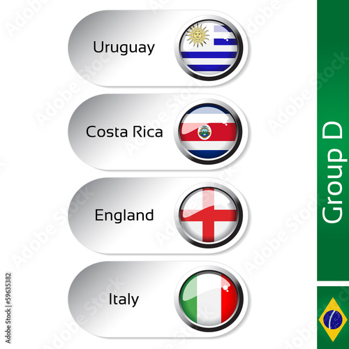 Vector flags, group D - Uruguay, Costa Rica, England, Italy