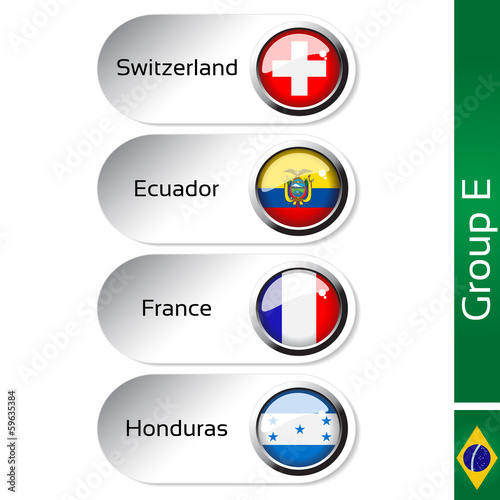 Vector flags, group E - Switzerland, Ecuador, France, Honduras
