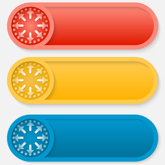 set of three colored vector abstract button with arrows