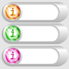 set of three silver buttons with info icons