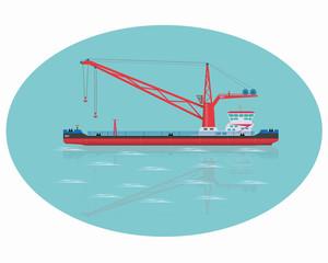 Red floating crane