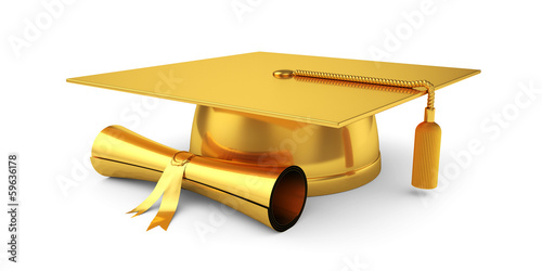 Golden graduation cap with diploma