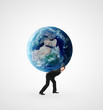 man holding earth