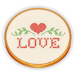 Love Embroidery, Valentine heart, cross stitch, wood sewing hoop