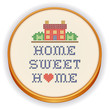 Embroidery, Home Sweet Home Cross Stitch on Wood Hoop