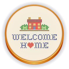 Embroidery, Welcome Home, house, heart, cross stitch sewing hoop