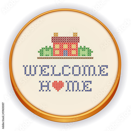 Quot embroidery welcome home house heart cross stitch