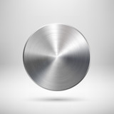 Abstract Circle Button with Metal Texture