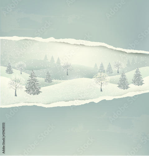 Christmas winter landscape background with ripped paper