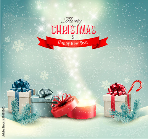Christmas winter background with presents and open magic box  Ve