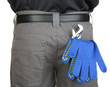 gloves and instruments in back pocket close-up