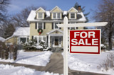 Home For Sale Sign in Front of Snowy New House - 59638701