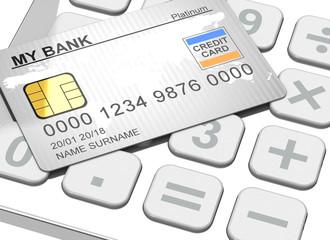 Kreditkarte auf Taschenrechner