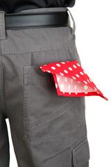 shawl in back pocket close-up
