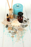 Sea spa composition on wooden table close-up