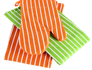 Potholder and two tea towels isolated on white
