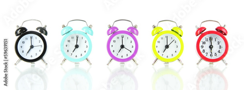 Colorful alarm clock isolated on white