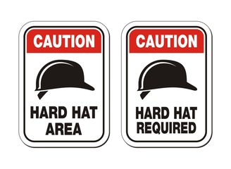 caution hard hat required signs - safety signs