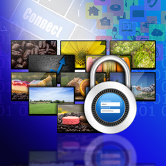 Padlock username password on internet production technology conc