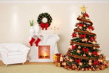 A decorate living room at Christmas Time with fireplace, firtree