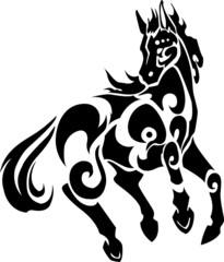 Decorative beautiful jump horse with white background