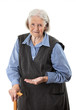 Senior woman holding medications over white