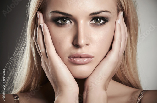 portrait of beautiful blond girl. beauty woman.make-up