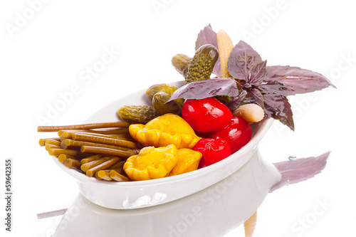 Elegant and tiny pickled vegetables