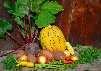 Vegetables in the autumn still life.