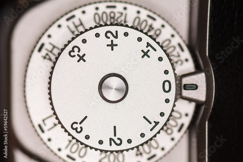 Exposure compensation dial on camera