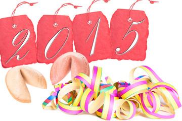 Anhänger mit der Jahreszahl 2015 und Girlande