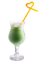 Pistachio-colored milk cocktail
