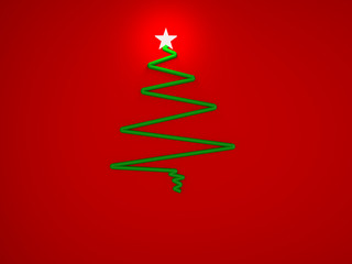 Abstract Cristmas tree with star for greeting card