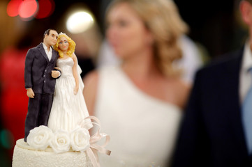 Closeup of wedding cake figurines at reception