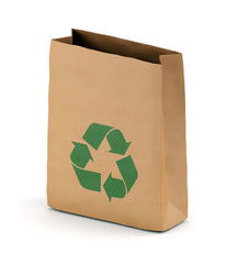 Brown paper sack with recycling symbol